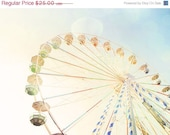 NEWYEAR SALE Ferris Wheel 2. Carnival Photos. Nursery Art Baby Room. Autumn Fair. Blue Skies. Bokeh Light. Pastel Colors. Fine Art Photogra