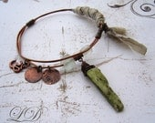 Wabi Sabi style Bangle bracelet with Kyanite and recycled glass