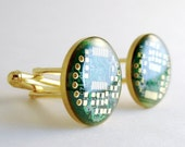 Recycled Circuit Board Cufflinks -- Domed Gold and Green -- Repurposed Computer Technology - Techcycled