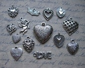 Big Valentines Day Charm Pendant Collection in silver tone - C1101