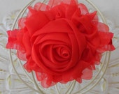Red Flower Headband - Red Chiffon Flower on a Red Double Ruffle Elastic Headband - Valentines Headband