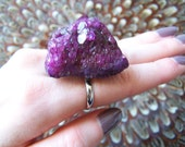 Raw Plum Purple Druzy Quartz Ring - Drusy, Statement, Cluster