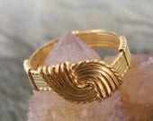 Gold Hug Ring Wire Wrapped - MysticalMoonDesigns
