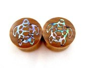 "Sea Turtle Abalone Inlay Wooden Plugs - 5/8"" (16 mm) 3/4"" (19 mm) 7/8"" (22 mm)  1"" (25.5 mm) 1 1/8"" (28 mm) 1 1/4"" (32 mm) Wood Inlay Gauges"