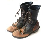 Vintage 2 Tone Rustic Leather Lace Up Boots - Western Urban Motorcycle - claudedonohoshop