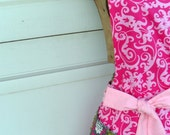 Flirty Reversible Apron in Hot Pink,Green and Gray for Women