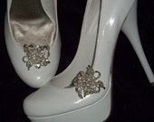 Vintage Style Clear Rhinestone Pearl Bridal Wedding  Silver Shoe Clips - set of 2 -