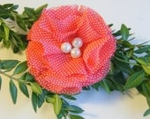 Red and White Polka Dot Flower Pin