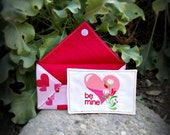 "Fabric Valentine Card with Envelope - Heart and Flowers "" be mine ""  - FREE SHIPPING"
