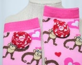 VALENTINE's Day Leg Warmers - Monkey Lovin' in Pinks for Girls, Teens, Crawlers