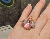 Bling Fly HUGE Fashion Costume Ring - Up-cycled Pin - Adjustable Size - R12CT FREE Shipping