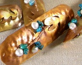 Large Barrette with Freshwater Pearls and Turquoise Copper Jewelry - meadowlandsjewelry