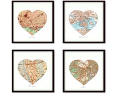CUSTOM 4 Map PRINTS - Heart Map with Your Locations - Personalized Vintage Map Art Prints