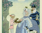 Print of Queen Elizabeth in Art Deco painting by George Barbier from page of magazine - ArtdeLimaginaire