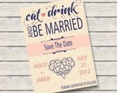 Eat Drink & Be Married Save the Date 5x7 Announcement, Linen