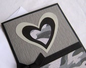 Handmade Masculine Love Card Black and Gray Camoflauge Heart Note Card Blank Inside - BGardenCreations