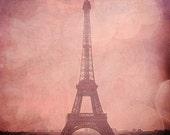 "Eiffel Tower in Pink Champagne - Pink Eiffel Tower, Bokeh Paris, France Fine Art Photography 8x10"" Matte Print"
