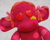 Valentines Day Gift Sock Monkey with Bracelet Pink Red Yellow