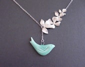 Sale 10% Off -Wild Orchid Flower Connector And Ceramic Mint Bird Pendant -16k White Gold Plated Lariat Necklace