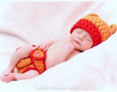 Sweet Baby Pooh Bear Hat With Matching Diaper Cover Photography Prop