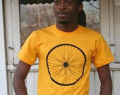 Giant Bicycle Wheel Screen Print on American Apparel Gold Men's Tee in Black