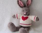 Valentine Day Gift - Valentine Toy - Hand Knit Bunny