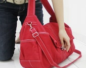 Father's Day Sale - KINIES CLASSIC in Red - Single Strap Shoulder bag / Cross Body Messenger