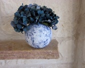 White Vase and Country Blue, Glass and Stucco Handcrafted - CarriageOakCottage