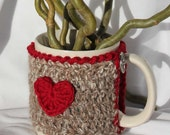Mug Cozy, Cup Cosy, Mug Warmer Crochet Red Heart