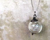 Spring is Coming  - Glass Globe Pendant full of Sparkly Goodness on Sterling Silver Chain