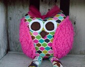 Whimsical Owl, Soft Stuffed Animal, Toy Plush Rattle, Party Favors