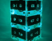 Green Upcycled MixTape Night Light Lamp Centerpiece