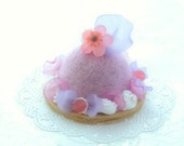 Fake pastry cake, dome shaped needle felted cake, purple & pink color