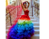 Ricky Lindsay Esperanza Haute Couture Rainbow Evening Gown Dress Spanish Formal Ball Runway Fashion Silk Exquisite - FavrileFinds