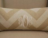 Monogrammed Neutral Chevron Print Throw Pillow
