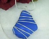 Cobalt Blue Sea Glass Pendant, Silver Wire Wrapped Necklace, Blue Beach Glass - DonnasArtisanDesigns