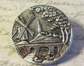 Antique Windmill Button - Metal