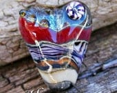 Handmade Lampwork Glass Heart Focal Bead - Heartstrings
