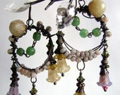 Spring Fever assemblage earrings with lucite blossoms,  beaded hoops and vintage chain by Anvil Artifacts