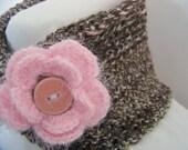 Dark Chocolate Infinity Scarf - Alpaca Blend Neck Warmer with Pink Flower - WrensNestCreations