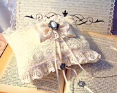 Angela petite miniature ivory lace ring bearer's pillow