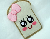 "iPhone Case - Cell Phone Case - iPhone 4 Case - iPod Case - iPod Touch Case - Handmade Felt Case - "" Cute Girly Toast"" Design"