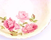 Cottage Roses Shabby Vintage Serving Bowl Potter's Cooperative East Liverpool Ohio