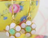 Swarovski Rose Green Opal Flower Rhinestone Earrings