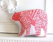 Plush Bear Pillow in Pink. Woodblock Printed.