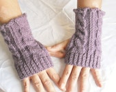 Wrist Warmers Fingerless Gloves in Purple Cable Handknit