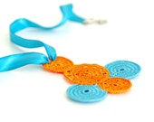 Crocheted Necklace in Aqua and Orange