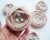 Pale Pink Roses Handmade Appliques Embellishments(5 pcs)