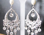 Faux Pearls with Loads of Rhinestones Wedding  Earrings