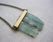 Green blue raw fluorite crystal minimalist necklace with brass bar - OOAK crystal jewelry